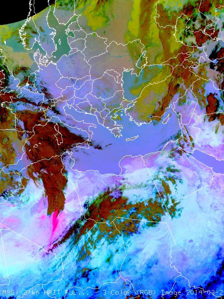 Saharan dust transported to Europe