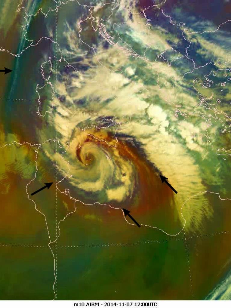 The tropical-like cyclone hits Italy, Sicily and Malta