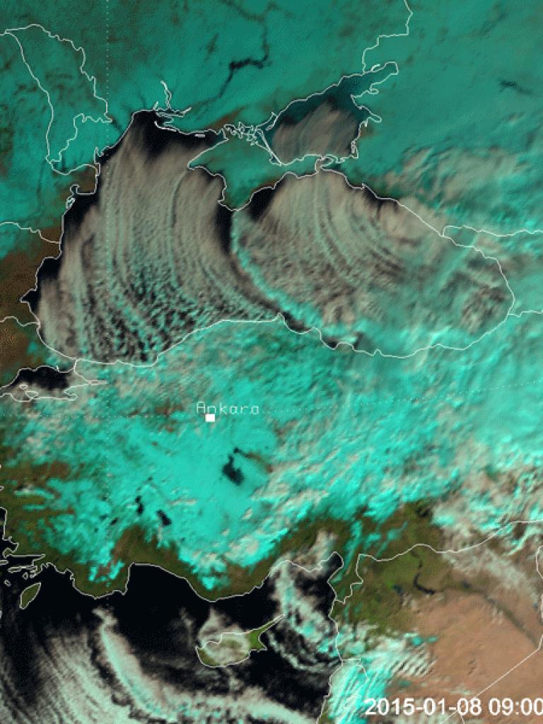 Deep upper level trough brings snow to the Eastern Mediterranean Sea