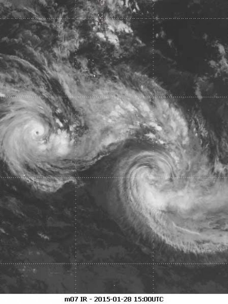 Twin cyclone Eunice and Diamondra