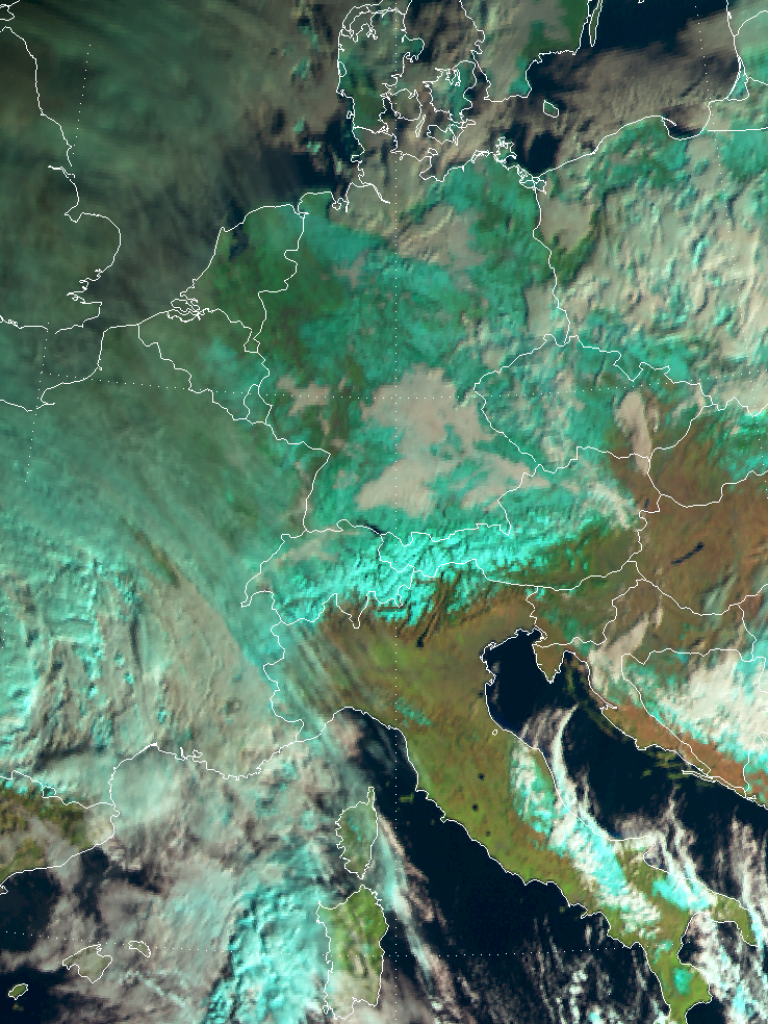 Parts of Europe with 100% snow cover