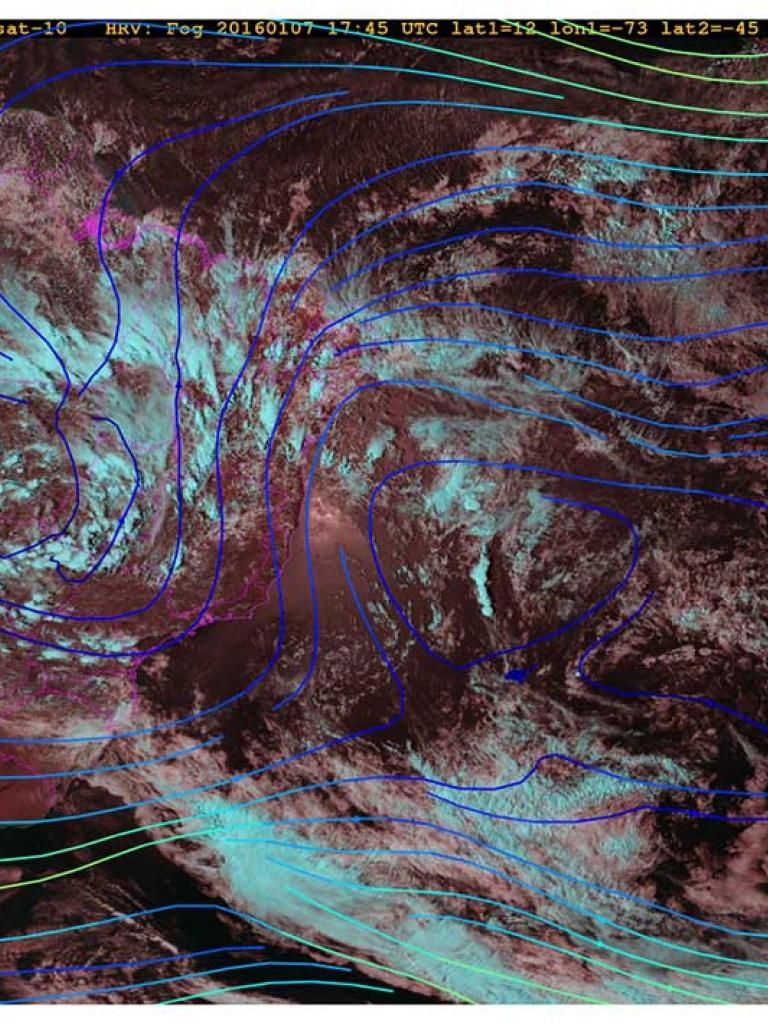 Cloud patterns and an anticyclone over Brazil