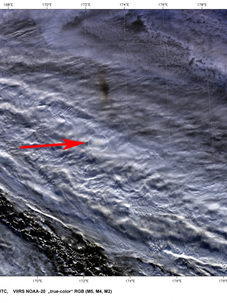Satellite images of bright meteor (bolide) east of Kamchatka