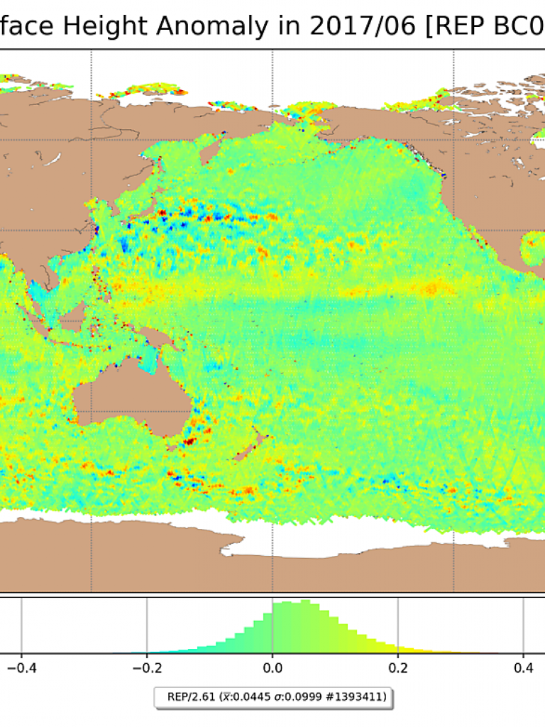 S3A Sea Surface Height Anomaly for June/2017, reprocessed
