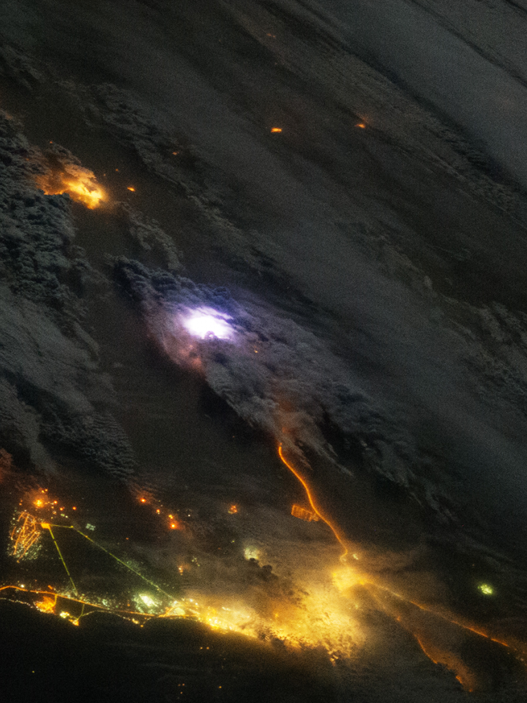 Lightning seen by the ISS. Source: NASA
