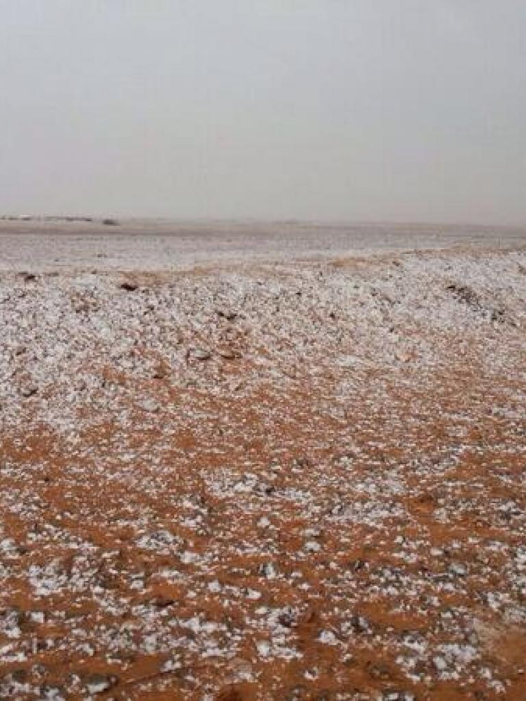 Snow over northern parts of Saudi Arabia