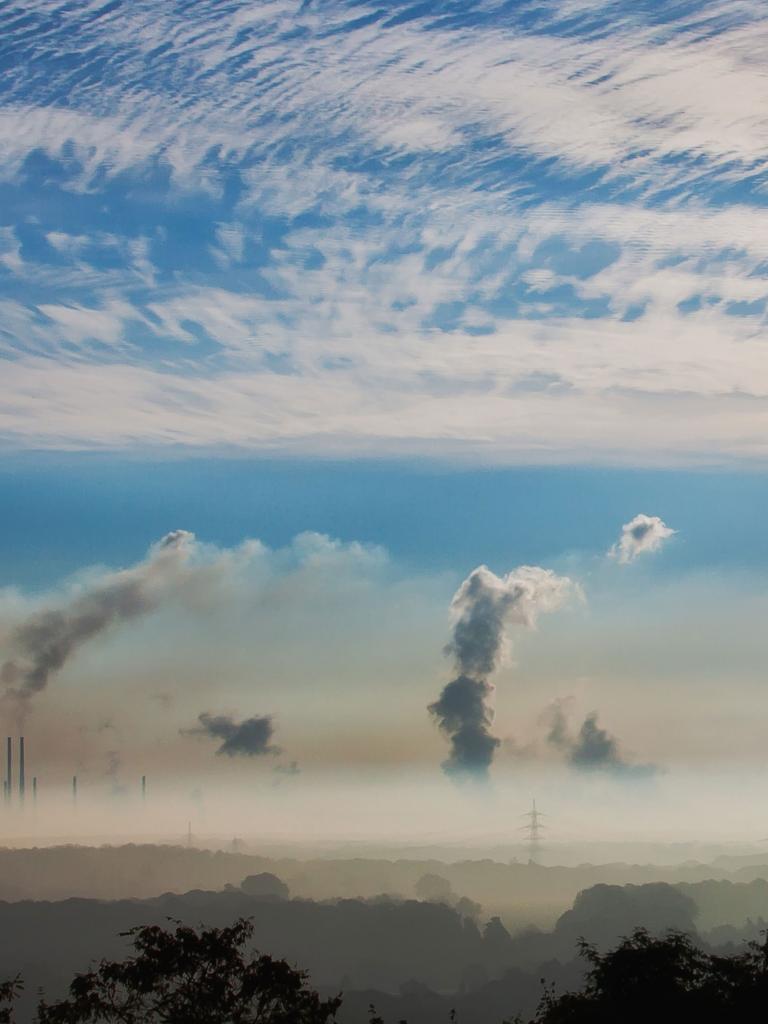 Smoke from chimneys
